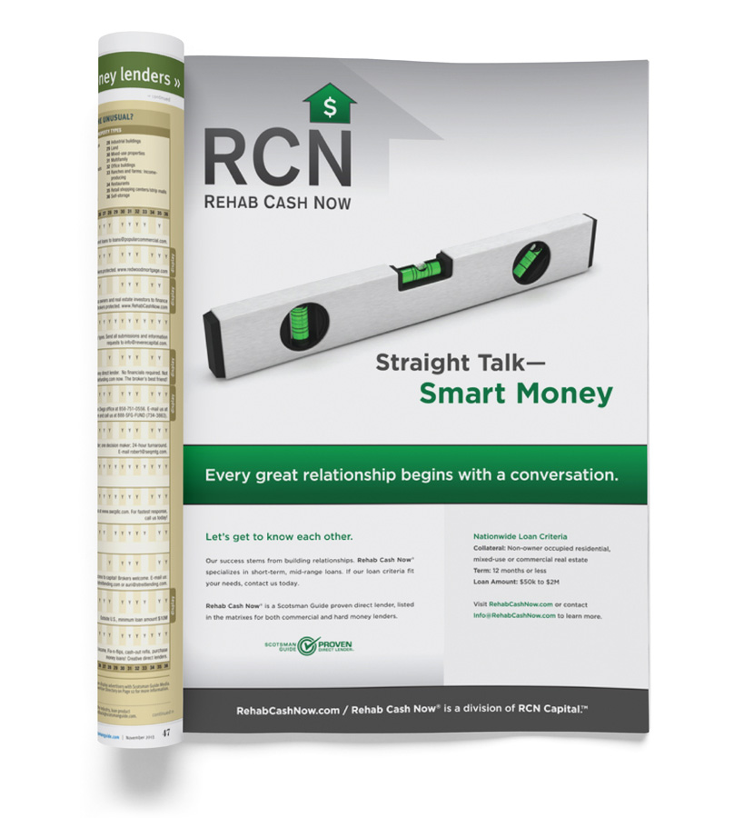 Rehab Cash Now Scotsman Guide Ad Level